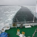 Navigating through drift ice north of Hokkaido