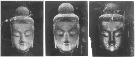 Empson's manipulated photograph. From l to r, - original image, right side doubled, left side doubled.