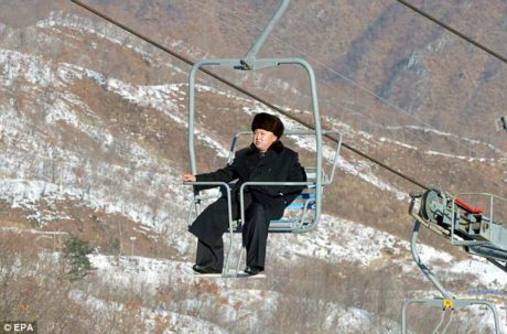 """Young General"" Kim Jong Un alone on a ski-lift"