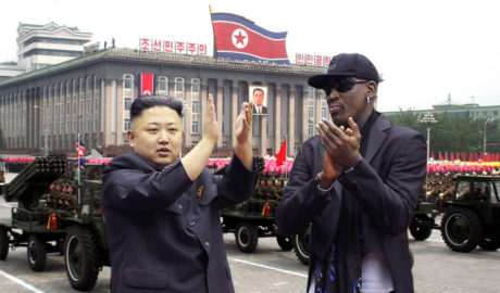 Kim Jong Un with basketball star Dennis Rodman