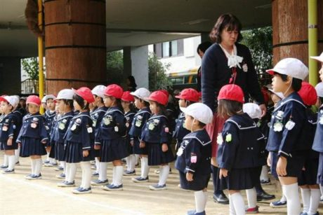 Students at the Moritomo Kindergarten school