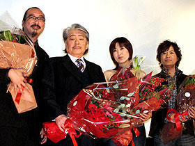 "Tsutsui with the director and voice artists of the anime version of his story ""Paprika."" the film was nominated for the Golden Lion award at the Venice Film Festival of 2006."