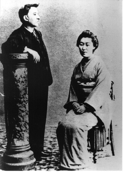 Hearn with his wife, Setsuko