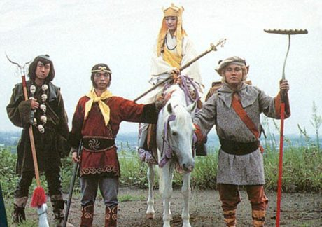 The monkey, with the pig and the water buffalo, protect the priest on the westward journey